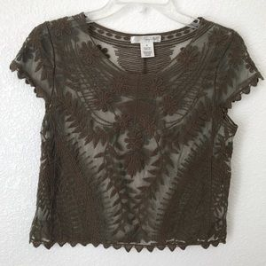 Say What? Olive Green Sheer Lace Crop Top size S